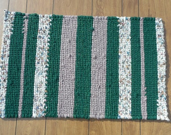 Green, heather and cream striped twined rag rug