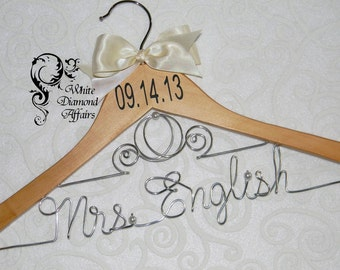 Disney Bride Cinderella Fairytale Coach Wedding Dress Hanger, Personalized Carriage Princess Themed Bridal Hanger, Wedding Date Hanger,Gift
