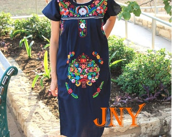Mexican Dress Puebla Navy Blue with Multi Colored Embroidery