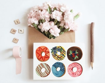 Donuts Bakery Desserts Breakfast Pastries Greeting Card