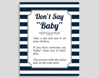 Don't Say Baby Shower Game Sign, Navy and White Stripe Baby Shower Game, Silver, Diaper Pin, Boy, DIY Printable, INSTANT DOWNLOAD