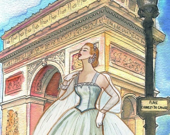 Arc de Triomphe an unforgettable evening - Print of my original painting
