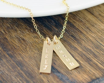 Gold Hand Stamped Personalized Mother Necklace, Mothers Day Gift, Mother Gift, Mothers Day Jewelry, Tag Necklace, Personalized Tag Necklace