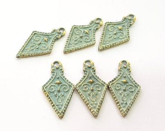 12 Patina Blue Charms Antique Blue Charms  , Faux Patina over Antique Bronze Tone (23x12mm) G8869