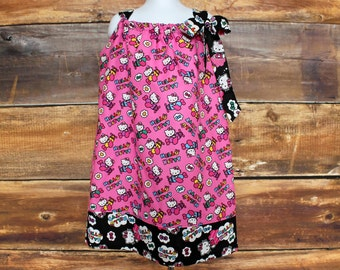 Hello Kitty Dress - Valentine's Day girls newborn baby toddler infant birthday outfit gift pink black pillowcase spring summer matching