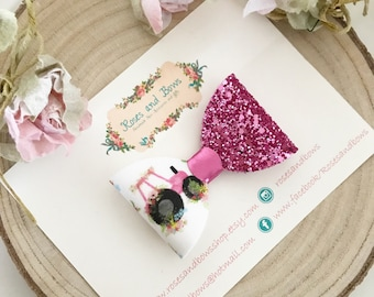 Tractor Hair Bow- glitter bow clip - tractor hair accessory - baby headband - girls clip - Pink Glitter Bow