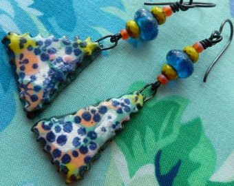 Hot Lava Hits The Sea, Boho Primitive Whimsical Funky Quirky Asymmetric Ceramic Earrings, Numinositybeads, JosephineBeads, Northernblooms