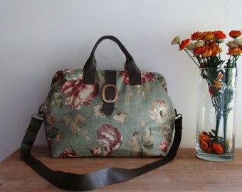 Sage Floral Carpet Mary Poppins Vintage Style Weekender