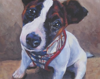 jrt JACK RUSSELL terrier dog portrait art canvas PRINT of LAShepard painting 8x10