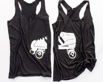 Roller Derby Wives Tank Pair || Roller Girl || Roller Derby Tank ||  Roller Derby Clothing || Roller Derby Shirt || Roller Derby Wife