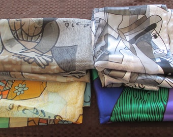 Lot 4 Vintage PICASSO Signed Assorted Abstract Cubist Womens Scarf Scarves