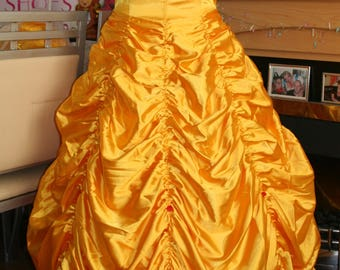 Beauty and the Beast inspired Belle Dress uk 14 - 16 full costume dress, hooped petticoat, wig and gloves