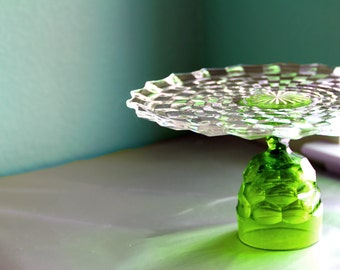 "Chartreuse Green Cake Stand / 12"" Glass Cake Plate Pedestal / Cake Dish Cake Platter / Truffle Pedestal Cupcake Stand / Apple Green"