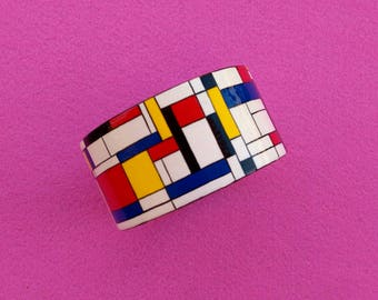 Art Bangle from wood handmade blue red yellow acrylic painting Mondrian Jewelry Gift