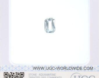 Aquamarine - Certified Octagonal Faceted 4.42ct Pale blue Transparent Aquamarine 10x7mm Loose Gemstone