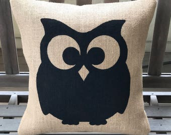 OWL Burlap Pillow - Halloween Pillow *SHIPS Within 3 DAYS!