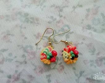 Fruit tart earrings. Realistic replica Polymer clay charms handmade food miniature jewellery