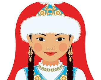 Kazakh Wall Art Print featuring culturally traditional dress drawn in a Russian matryoshka nesting doll shape
