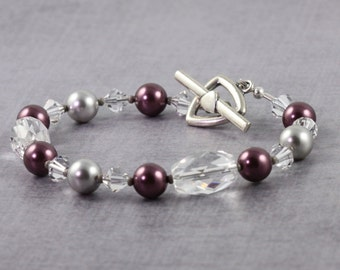 Bridal Jewelry Prom Fashion Burgundy Bracelet Gray Pearl Bracelet Crystal Quartz Gemstone Jewelry Wedding Jewelry Gemstone Beaded Bracelet