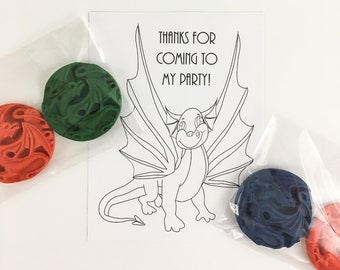 Dragon Party Favor Coloring Sheet with 2 dragon crayons - dragon party favor, dragon crayons, handmade favors, coloring favors, dragons