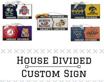 House Divided Sign, House Divided Door Hanger, House United Sign, House Divided Hearts United Sign, Custom House Divided Order Sign