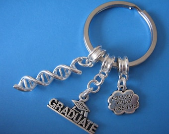 Biology Graduation Gift DNA Keyring Double Helix Charm