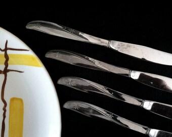 Oneida Twin Star Dinner Knives 4 pcs Stainless Atomic Starburst Betty Crocker Flatware Serving Silverware 1950s MCM