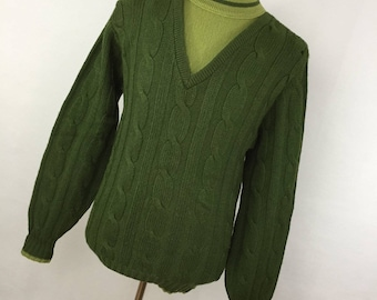 Vintage 60s 70s Men's Sweater Karoll's MT Medium Tall Green Cable Knit V Neck Attached Light Green Inset P3