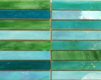 Stained Glass Slivers - Turquoise Wave - 15 tiles