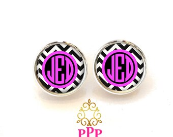 Monogram Earrings, Monogram Stud Earrings, Monogram Jewelry Black Chevron Pink (409)
