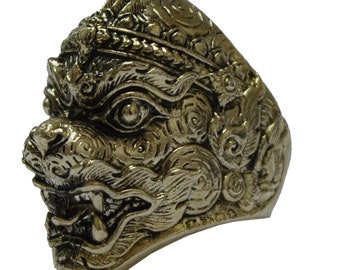 Thai Brass Ring Hanuman Monkey Deity in Ramayana Story Power Lucky Pendant