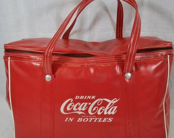 Vintage Coca-Cola In Bottles Soft Vinyl Carrying Tote with Handles - Red and White