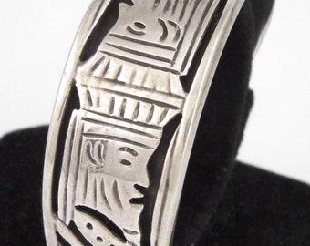 "MEXICO - ""A.C.T."" - Vintage Sterling Silver & Black Enamel Cuff Bracelet - 39.2 gr."
