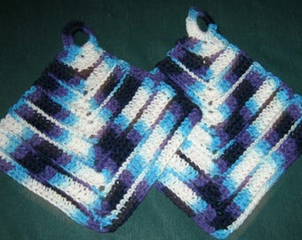 Two Dish or Wash Cloths, Blues and white multi colored, crochet