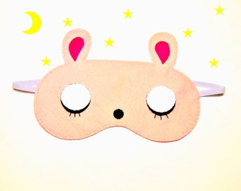 Sleep mask Bunny pink felt Pajamas Spa night birthday sleep party favors cute kawaii soft eye sleeping accessory Gift for girl kids her