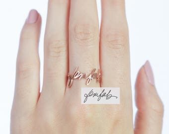 Signature Ring • Memorial Signature Jewelry • Custom Actual Handwriting Ring Sterling Silver • Name Ring • Sympathy Gift • Mom Gift • RM01