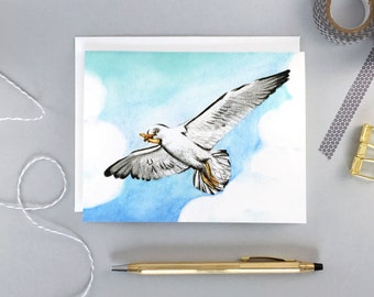 Bird Greeting card   Seagull with a french fry   Birthday card   Humor   Blue sky with clouds   Watercolor painting   Blank card