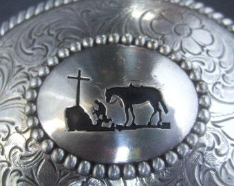 Unique Silver Metal Southwestern Style Belt Buckle