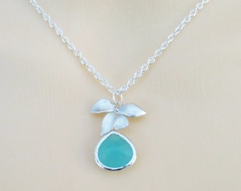 Orchid Flower Necklace with Mint glass stone - Graduation Gift, Bridesmaid Necklace, Wedding Necklace, Gemstone Necklace