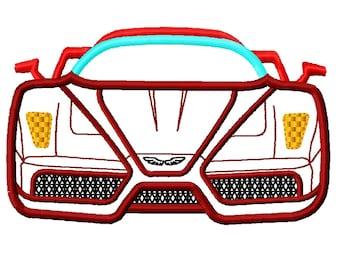 Race Car Front Applique Embroidery Design file 4 sizes Instant Download