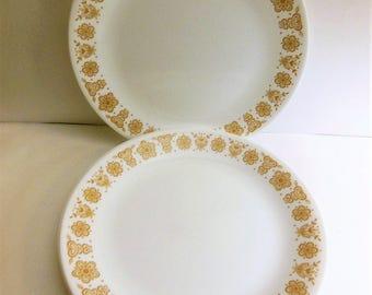 Vintage Corelle Butterfly Gold Plates, Corelle Dinner Plates, corelle plates w/gold butterflies & flowers, set of 8 corelle plates