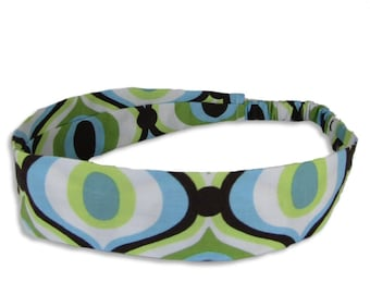 """Fabric Headband - Feeling Groovy- Pick your size - fit toddlers to adults - 1-1/2"""" wide"""