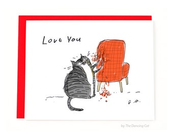 Funny Cat card - Chair Rip - From the Cat - Cat Mom or Cat Dad Card