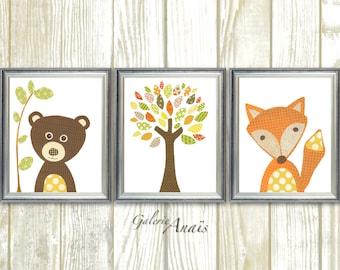 Fox nursery bears nursery woodland nursery tree orange yellow brown Kids wall art baby nursery decor children art Set of three prints