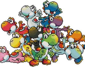 Pile of Yoshis Cross Stitch Pattern