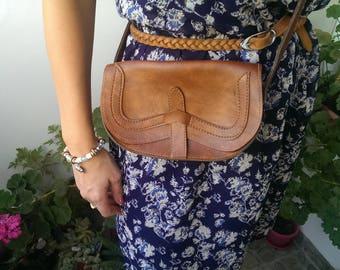 Vintage Brown Leather Bag, Lady Bag, Small Bag with Strap, Shoulder Bag, Stylish Bag, Gift for Her