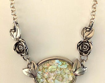 Vintage Roman Glass and Sterling Silver Necklace - Ancient Roman Glass Pendant Necklace