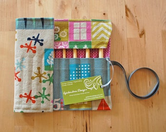 Crochet Hook Case / Organizer / Holder - Retro Games Fabric with Orchid Geometric Lining