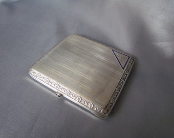 Art Deco French Cigarette Case, Sterling Silver, Blue Enamel