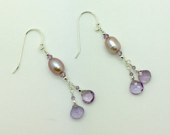 Amethyst & Freshwater Pearl Sterling Silver Earrings #AVEN1833